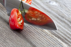 Close-up of half a habanero chili pepper Stock Images