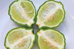 Half of kaffir lime bergamot. Close up Half of kaffir lime bergamot stock image