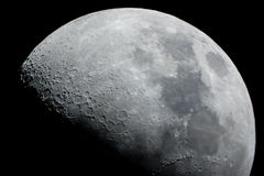 Close-up of a half moon. Close up of a half moon Waxing gibbous with 56% illumination royalty free stock images