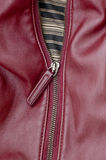 Close Up of a half-opened zipper on a red bag. Royalty Free Stock Photo