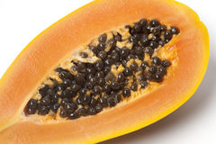 Close up of half papaya fruit Royalty Free Stock Photos