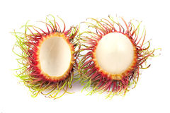 Close up half of  rambutan. Close up half of rambutan on white background Royalty Free Stock Photos