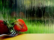 A Close up of Half a Strawberry royalty free stock photography