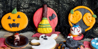 Close-up of halloween art cookies Stock Images