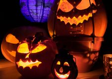 Close up of halloween pumpkins Royalty Free Stock Photography