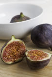 Close-up of halved ripe fig Royalty Free Stock Images
