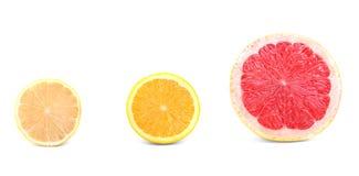 Close-up halves of fresh citruses isolated on a white background. Colorful lemon, orange and grapefruit cut in half. Summer fruit. Stock Photo