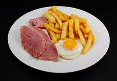 Close up of Ham egg and chips. Close up of Ham, egg and chips. A traditional British Cafe Dish Stock Images