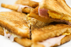 Close up of ham sandwich Stock Images
