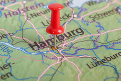 Close up of Hamburg map with red pin Royalty Free Stock Images