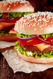 Close Up of Hamburger with Cheese and Toppings Royalty Free Stock Photography