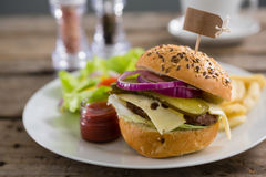 Close up of hamburger with label Royalty Free Stock Photos