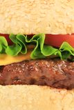 Close up of hamburger layers. Royalty Free Stock Photos