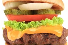 Close up of hamburger slices. Stock Image