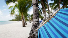 Close up of hammock swinging on tropical beach. Vacation, seaside, summer and leisure concept - close up of blue hammock swinging on tropical beach stock footage