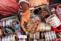 Close up of hand with bangels, Sadar Market, Jodhpur, India Royalty Free Stock Photo