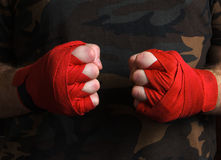Close-up of hand boxer wrist wraps before fight. Close-up of hand boxer wrist wraps before the fight stock images