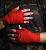 Close-up of hand boxer wrist wraps before fight Stock Photo