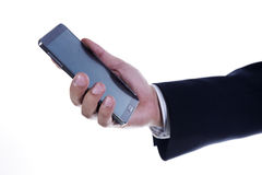 Close up hand of Business man using mobile smart phone Royalty Free Stock Images