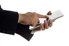 Close up hand of Business man working on digital tablet Royalty Free Stock Photos