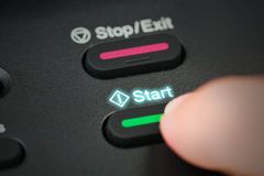 Close-up hand button start mission. Royalty Free Stock Photos