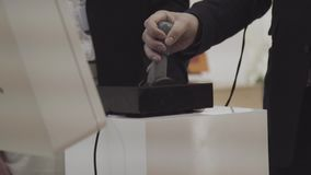 Close up hand control joystick of arcade. Close up hand playing arcade game.  stock footage