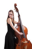 Close-up on hand on double bass playinG pizzicato Royalty Free Stock Photo