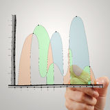 Close up of hand drawing abstract business strategy royalty free stock photos
