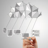 Close up of  hand drawing Cloud Computing diagram Stock Photography