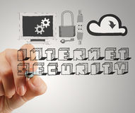 Close up of hand drawing Internet security Stock Photo