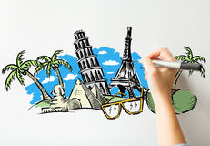 Close up of hand drawing touristic landmarks Royalty Free Stock Photo