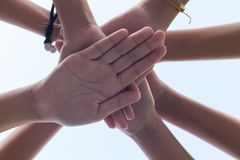 Close up hand girl power , Teamwork stacking hand stock image
