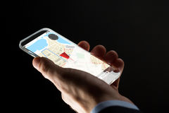 Close up of hand with gps map on smartphone Royalty Free Stock Photos