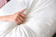 Close up hand of having sex on a bed. make love Stock Photography