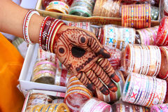 Close up of hand with henna painting, Sadar Market, Jodhpur, Ind Stock Images