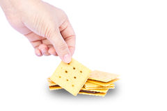 Close up hand hold delicious biscuits Stock Photography