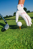 Close-up hand hold golf ball Royalty Free Stock Photo