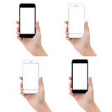 Close up hand hold phone isolated on white background, mock-ups royalty free stock photography