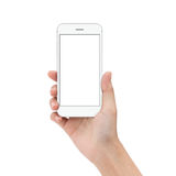 Close up hand hold phone isolated on white. Mock-ups phone white color blank screen Royalty Free Stock Photo