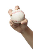 Hand holding a baseball on white background. Royalty Free Stock Photo