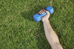 Close Up on Hand Holding Blue Dumbbell in Grass Stock Image