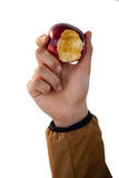 Close-up of hand holding eaten apples Royalty Free Stock Photography