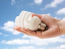 Close up of hand holding energy saving lightbulb Royalty Free Stock Photography