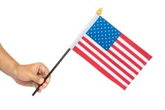 Close up of hand holding the flag royalty free stock image