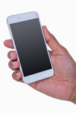 Close up of hand holding a smartphone Royalty Free Stock Images