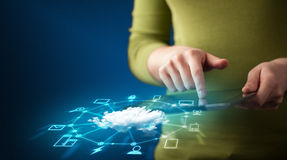 Close up of hand holding tablet with cloud network technology Royalty Free Stock Image