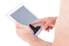 Close-up of hand holding using digital tablet Royalty Free Stock Photography