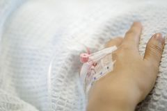 Close-up of hand inserted with iv drip. Close-up of hospitalized patient`s hand inserted with saline intravenous drip. Shallow depth of field Royalty Free Stock Photos