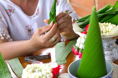 Close-up hand made Rice offering,banana leaf, Thailand. Stock Image