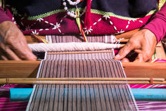 Close up Hand-made weaving of the Karen tribe Royalty Free Stock Image
